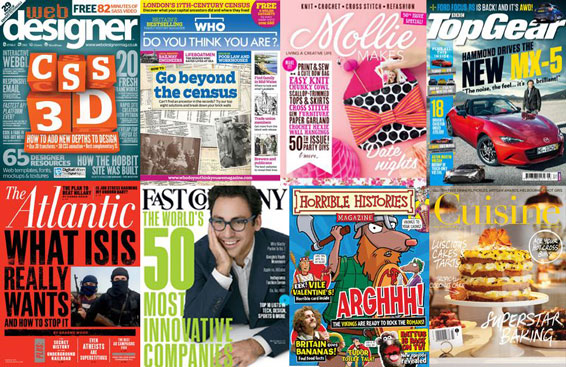 covers of a selection of new titles: Web Designer, Mollie Makes, The Atlantic, Fast Company, BBC Top Gear, Horrible Histories, Cuisine