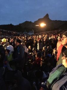 crowd at dawn