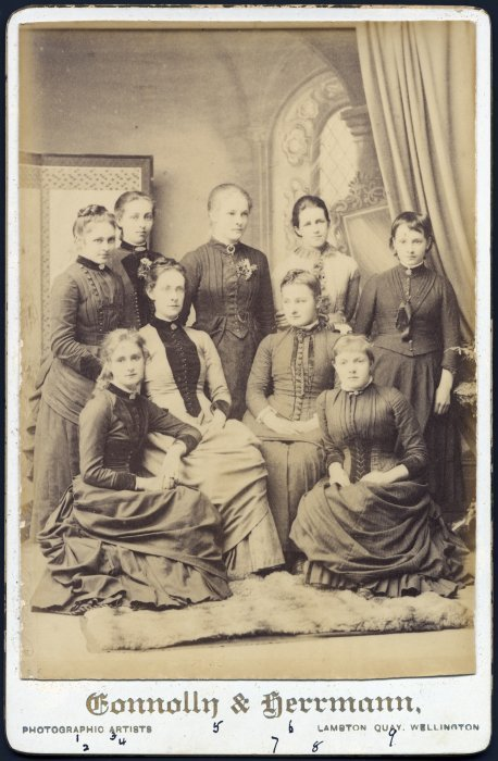 Group portrait of Form VI girls at Wellington Girls High School 1887