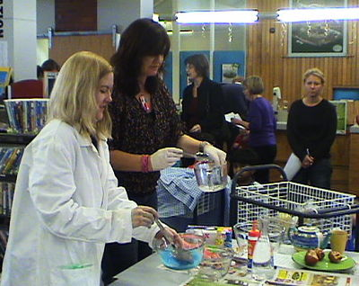Susannah and Sharyn making some slime.