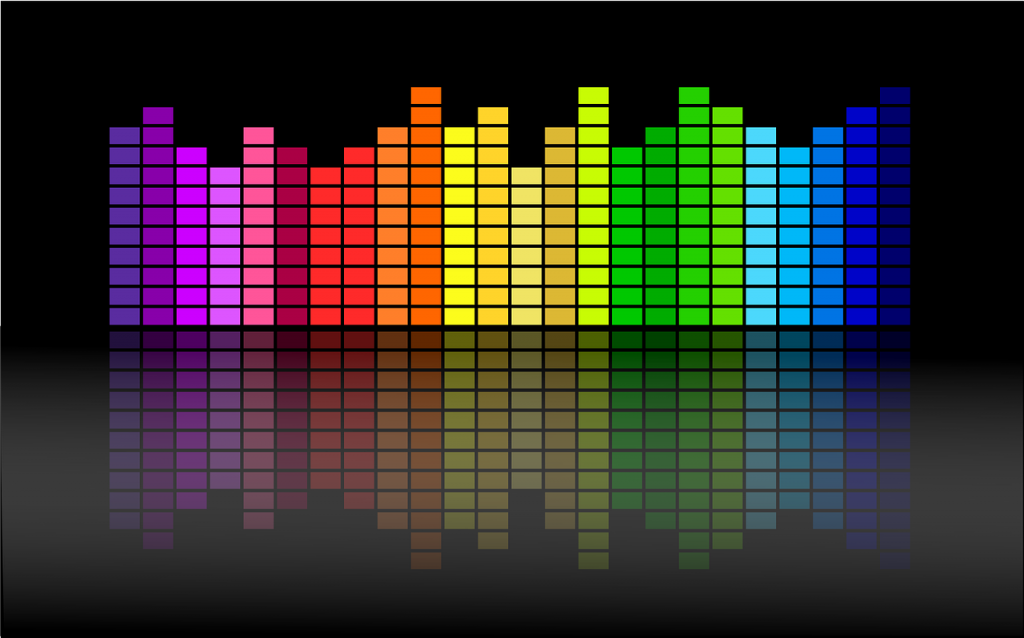 Image of digital equaliser software displaying rainbow-coloured volume bars at different heights.