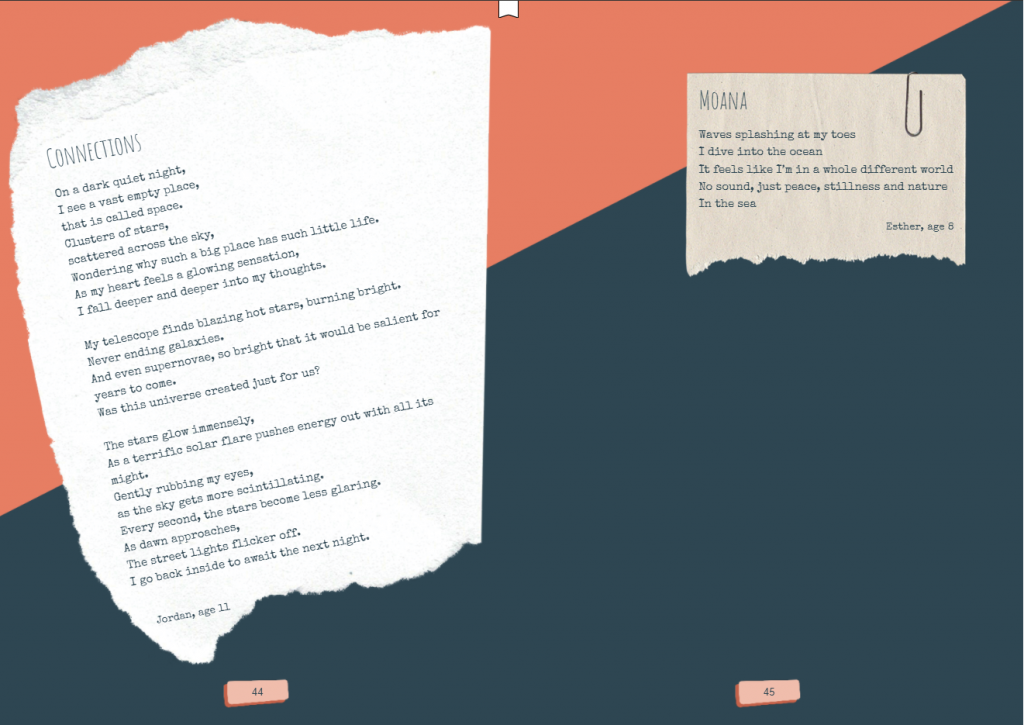 Two-page spread from the Tūhono eBook, featuring poems by Jordan, 11, and Esther, 8.