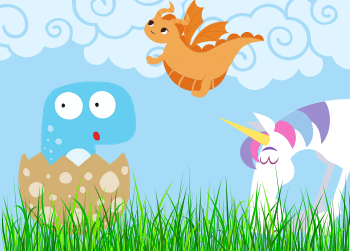 Drawn image of a baby dinosaur hatching from its shell, a small orange dragon flying in the sky, and a unicorn happily munching on some grass.