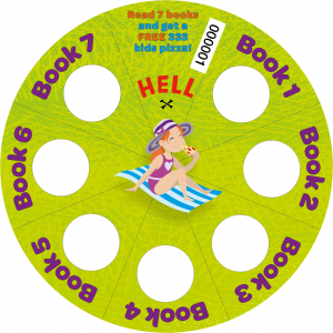 A circular card divided into seven segments, each of which has a space to be stamped by a librarian. once seven segments are stamped, the card can be redeemed for one free 333 kids' pizza at any Hell Pizza store.