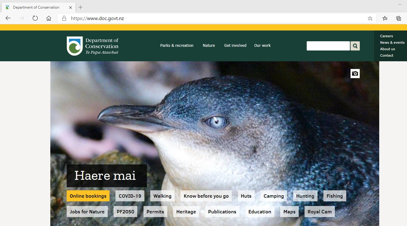 Image of the Department of Conservation website, front page