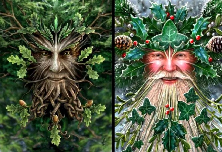 Two drawings of the Oak king and the Holly king.