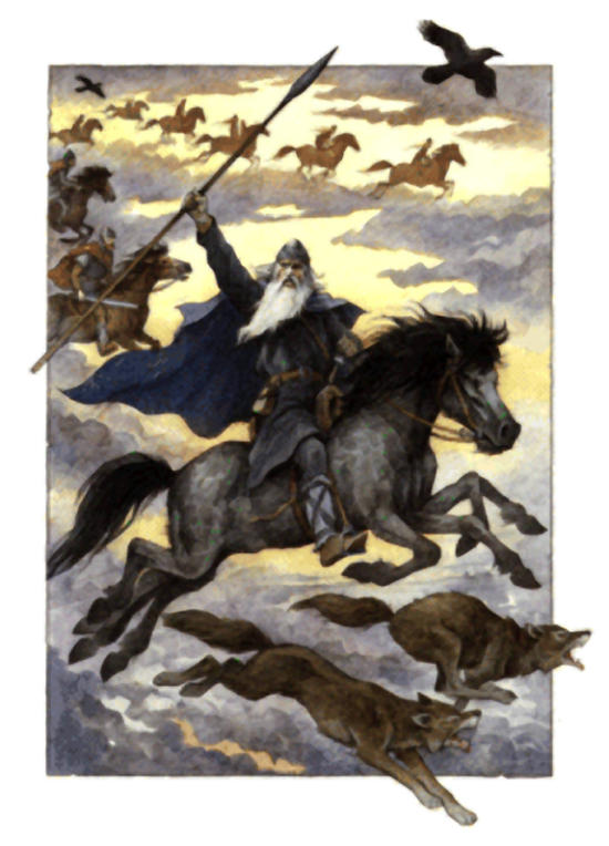 Image of the Norse God Odin riding Sleipnir during the Wild Hunt