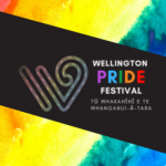 Wellington Pride Festival logo against a dark field, framed by rainbow design.