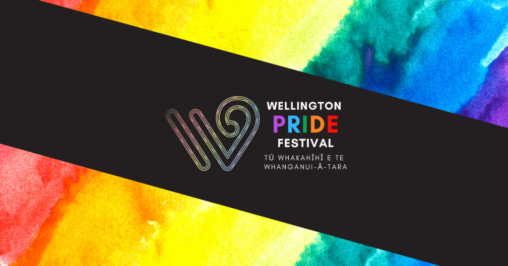 Wellington Pride Festival logo, dark field, rainbow design surrounding