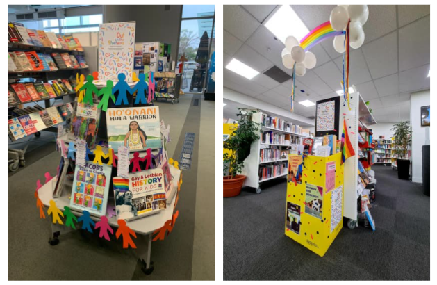 A collage of two displays. Left: A rainbow pyramid of books at Karori Library, decorated with person-shaped cutouts in various colours. Right: A brightly-coloured display of books at Arapaki Library, decorated above with rainbow streamers and balloons.