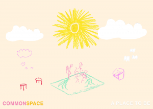 image from Commonspace website. Depects a sun and a minimal landscape in crayon scribbles.