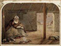 Te Puni seated in a whare in Pito-one Pa 1860. Watercolour by Charles Barraud