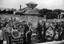 Group of mourners at the grave of Honiana Te Puni, Petone, Wellington (23 January 1940)
