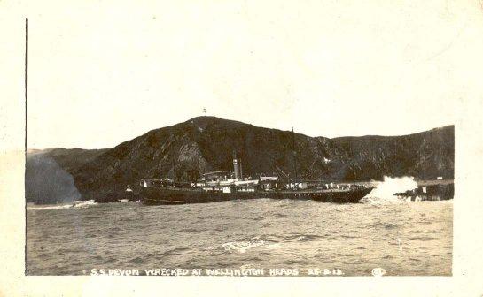 S.S. Devon wrecked at Wellington Heads 25.8.13.