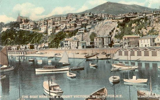 The boat harbour & Mount Victoria, Wellington, N.Z..
