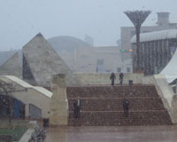 Snow in Civic Square on Monday