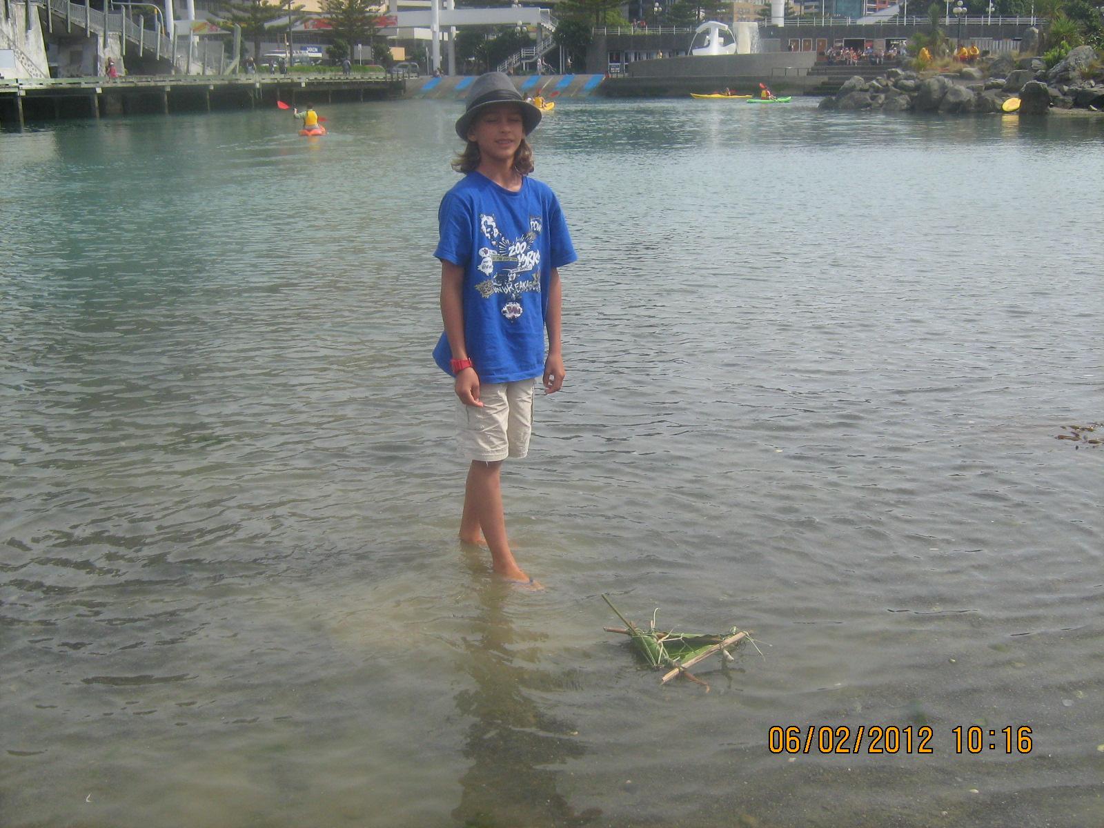 Testing the waka in the lagoon.