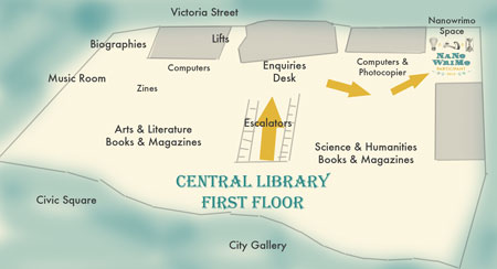 map of Central Library's 1st floor