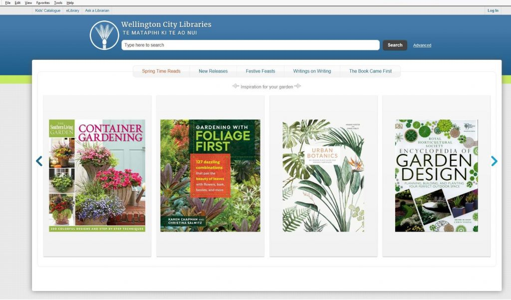 catalogue home page