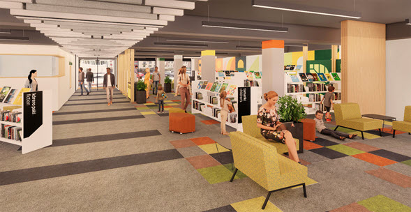 Artist's impression of the Te Awe Brandon Library