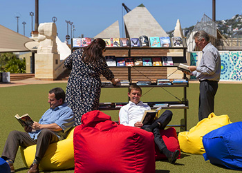 Grab a book, pull up a seat and relax in the Outdoor Reading Room