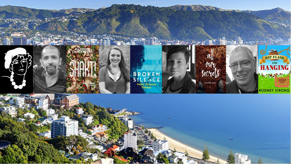 Pictures of authors together with their book covers, superimposed over a picture of Wellington harbour