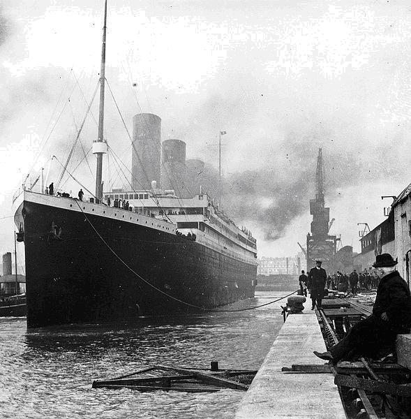 Titanic at the docks of Southampton April 1912