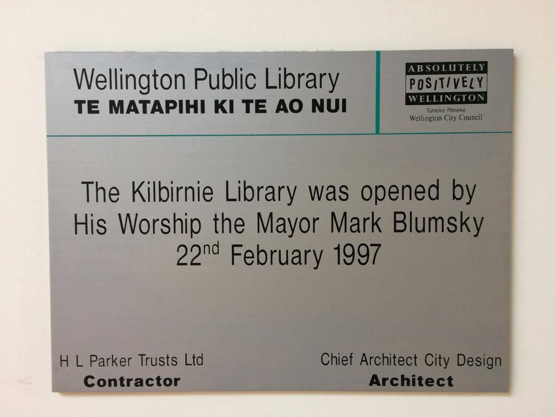Kilbirnie library plaque